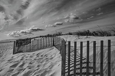 Photograph - Dune And Snow Fence by Steve Gravano
