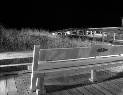 Stars Photograph - Dune Bench At Night In Black And White by Greg Mimbs