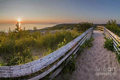 Dune Boardwalk At Sunset Art Print