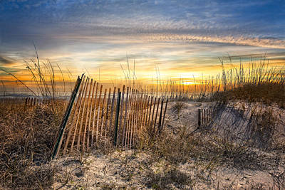 Driftwood Beach Fog Wall Art - Photograph - Dune Glow by Debra and Dave Vanderlaan