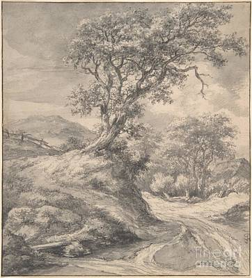 Dutch Painting - Dune Landscape With Oak Tree by Celestial Images