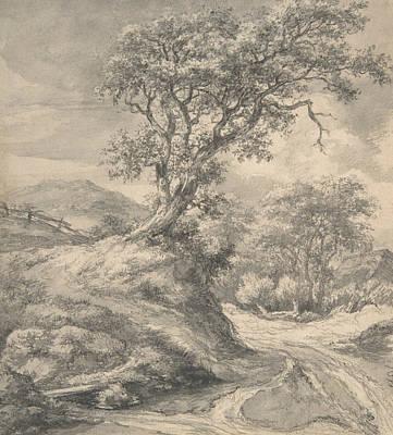 Drawing - Dune Landscape With Oak Tree by Jacob van Ruisdael
