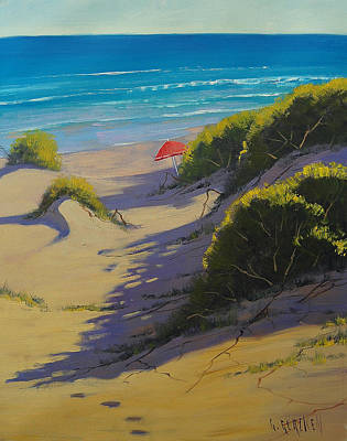 Dune Shadows Nth Entrance Beach  Nsw Australia Art Print by Graham Gercken