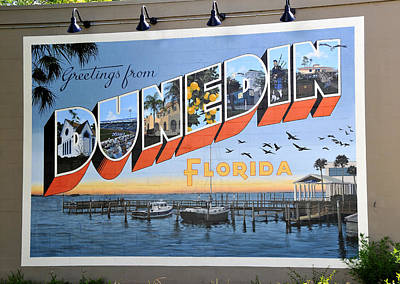 Mural Photograph - Dunedin Florida Post Card by David Lee Thompson