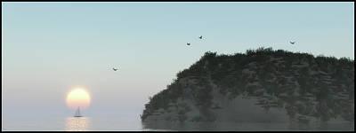 Digital Art - Dunes And Sea At Sunset... by Tim Fillingim