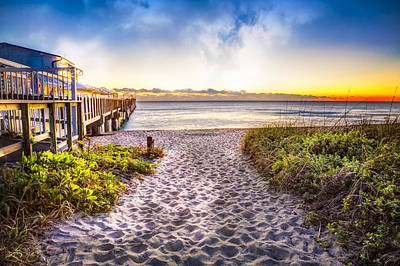 Dunes At The Pier Art Print by Debra and Dave Vanderlaan