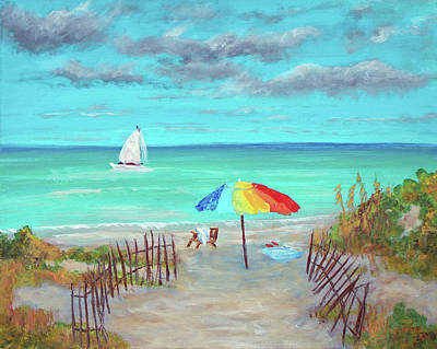 Painting - Dunes Beach Colorful Umbrella by Ken Figurski