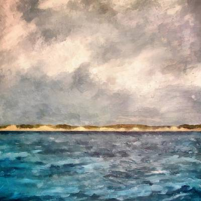 Lakeshore Digital Art - Dunes Of Lake Michigan With Rough Seas by Michelle Calkins