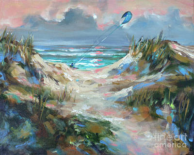 Painting - Dunes With Kite Surfer by Linda Olsen