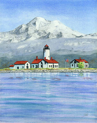 Olympic National Park Painting - Dungeness Lighthouse With Mount Baker by Julie Senf