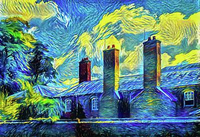Digital Art - English Building Starry Night Edition 01 by Matthias Hauser