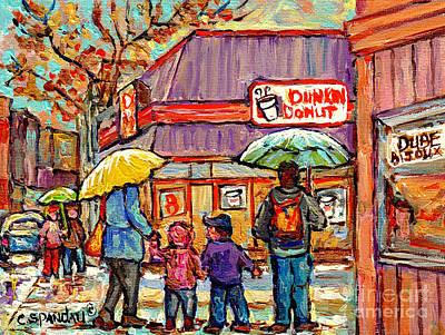 Painting - Dunkin Donut Wellington Street Verdun Rainy Day Family Stroll Montreal Painting C Spandau City Scene by Carole Spandau