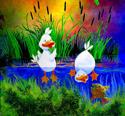 Shower Gift Painting - Dunking Duckies by Hanne Lore Koehler