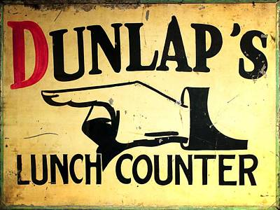 Photograph - Dunlap's Lunch Counter by Timothy Bulone