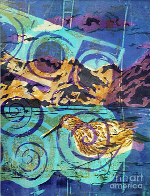 Mixed Media - Dunlin On Mudflats by Cynthia Lagoudakis