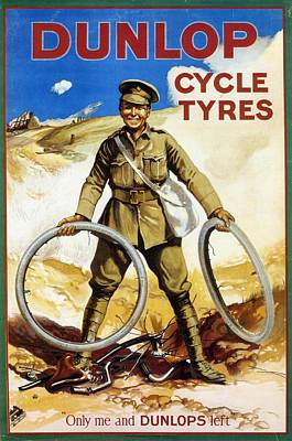 Mixed Media - Dunlop - Cycle Tyres - Vintage Advertising Poster by Studio Grafiikka