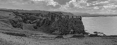 Photograph - Dunluce Castle 1857 Bw by Teresa Wilson