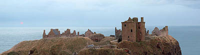 Photograph - Dunnottar Castle Moonrise Panorama by Grant Glendinning