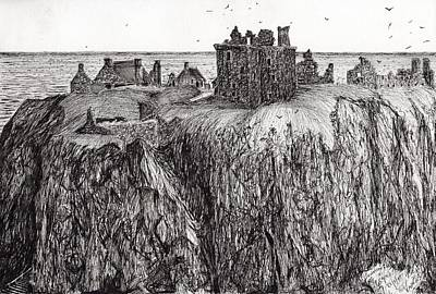 Seagull Drawing - Dunottar Castle by Vincent Alexander Booth
