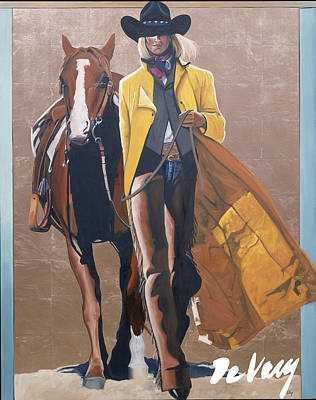 Beautiful Western Cowgirl Painting - Duo I by David DeVary