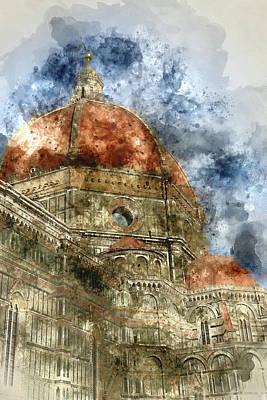Photograph - Duomo Santa Maria Del Fiore And Campanile. Florence, Italy by Brandon Bourdages
