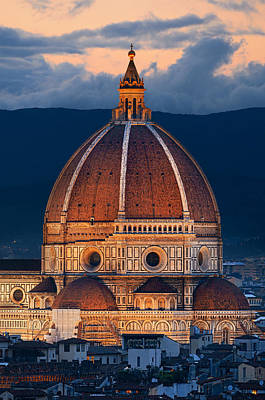 Photograph - Duomo Santa Maria Del Fiore Closeup At Night by Songquan Deng