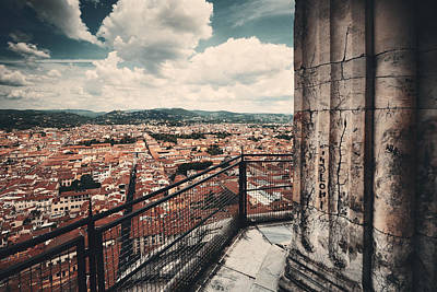 Photograph - Duomo Santa Maria Del Fiore Dome Top View by Songquan Deng