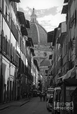 Photograph - Duomo View In Florence Italy In Black And White by Gregory Dyer