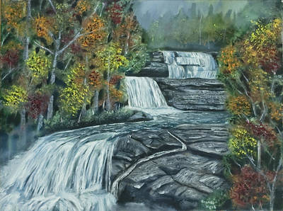 Dupont Painting - Dupont State Forest Triple Falls by Brandon Hebb