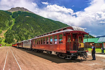 Photograph - Durango And Silverton Narrow Gauge Railroad And Mountain Landscape by Gregory Ballos