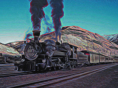 Boiler Digital Art - Durango Silverton Narrow Gauge Digital Art by Ernie Echols
