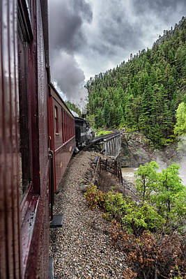 Photograph - Durango Silverton Rr Crossing The River Dsc07702 by Greg Kluempers