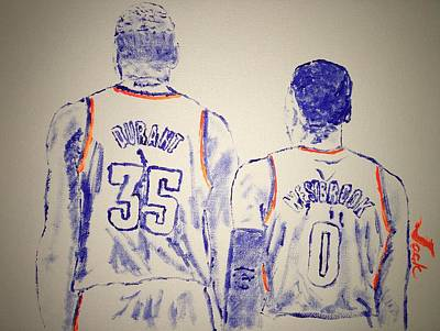 Nba Painting - Durant And Westbrook by Jack Bunds