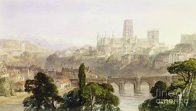 Village Scene Painting - Durham Cathedral by George Arthur Fripp