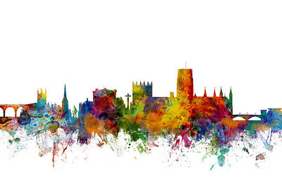 Great Digital Art - Durham England Skyline Cityscape by Michael Tompsett