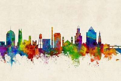 Durham North Carolina Skyline Art Print