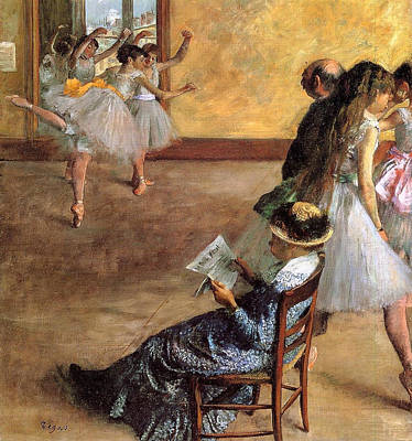 Reading Painting - During The Dance Lessons, Madame Cardinal by Edgar Degas