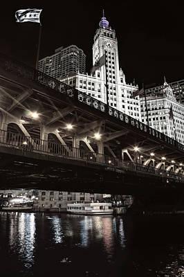 Riverwalk Photograph - Dusable Bridge And Wrigley Building - Chicago  by Daniel Hagerman
