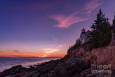 New England Lighthouse Digital Art - Dusk At Bass Harbor Lighthouse by Jerry Fornarotto