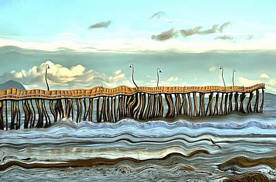 Photograph - Dusk At Cayucos Pier Abstract by Barbara Snyder
