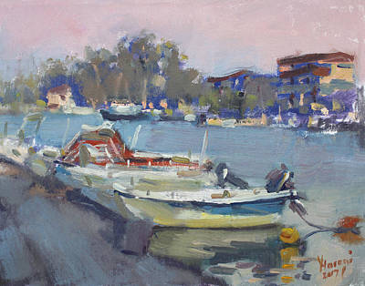 Dusk Wall Art - Painting - Dusk At Chalkoutsi's Harbor Greece by Ylli Haruni