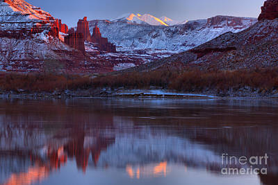 Print featuring the photograph Dusk At Fisher Towers by Adam Jewell