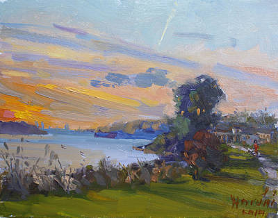 Dusk Wall Art - Painting - Dusk At Gratwick Park  by Ylli Haruni