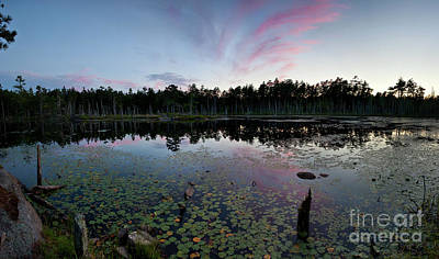 Photograph - Dusk At Ice Pond, Georgetown, Maine  -8906-8926-pano by John Bald