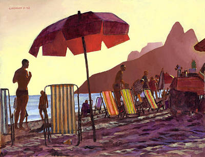 Dusk At Ipanema 1 Print by Douglas Simonson