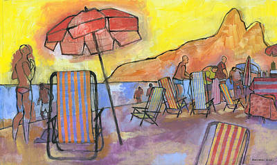 Dusk At Ipanema 2 Print by Douglas Simonson