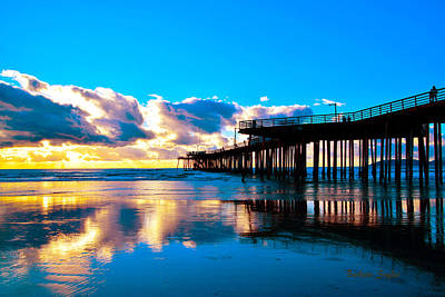 Pismo Beach Painting - Dusk At Pismo Pier Pismo Beach California by Barbara Snyder
