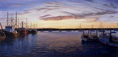 Dusk At Stonington Harbor Art Print by Bruce Dumas