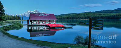 Photograph - Dusk At The Maligne Lake Boathouse by Adam Jewell