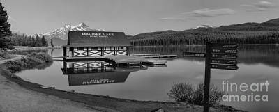 Photograph - Dusk At The Maline Lake Boathouse Black And White by Adam Jewell